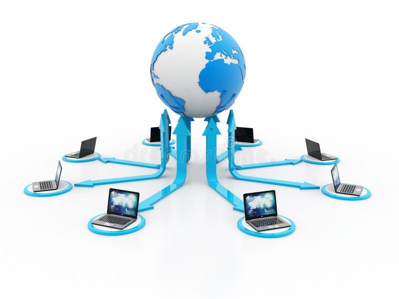 Globalnego interneta Komunikacyjny pojęcie, komputer Łączył serwer świadczenia 3 d royalty ilustracja