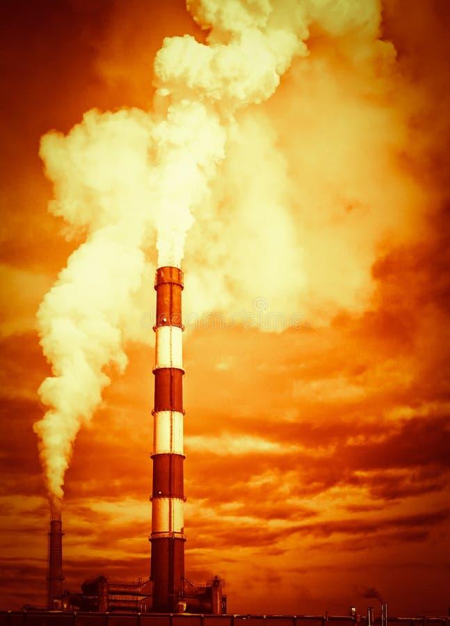 Globalnego nagrzania Kominowej sterty emisje obrazy royalty free