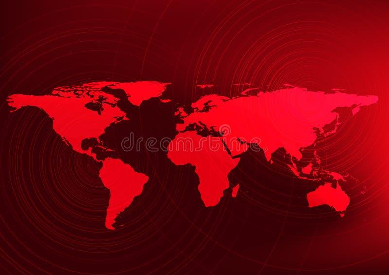 Globalnego nagrzania skutek, Czerwony światowej mapy pojęcie, projekt dla edukaci i nauka, Ostrzegający zaludniać, ilustracji