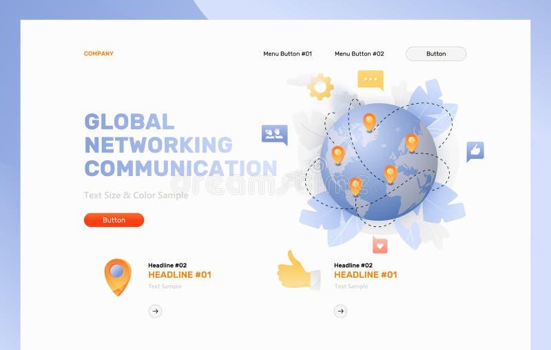 Globalnego networking strony internetowej Komunikacyjny szablon ilustracji