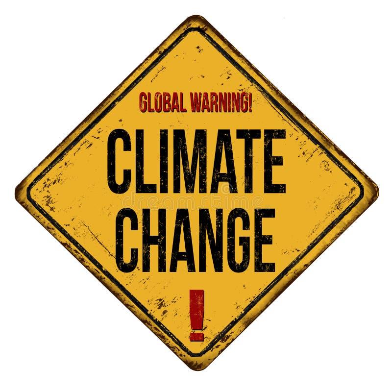 Globalnego ostrzegawczego zmiana klimatu rocznika metalu ośniedziały znak ilustracji