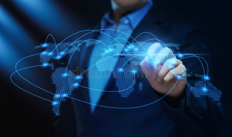 Globalnej Światowej Komunikacyjnej Podłączeniowej Biznesowej sieci Techology Internetowy pojęcie obraz royalty free