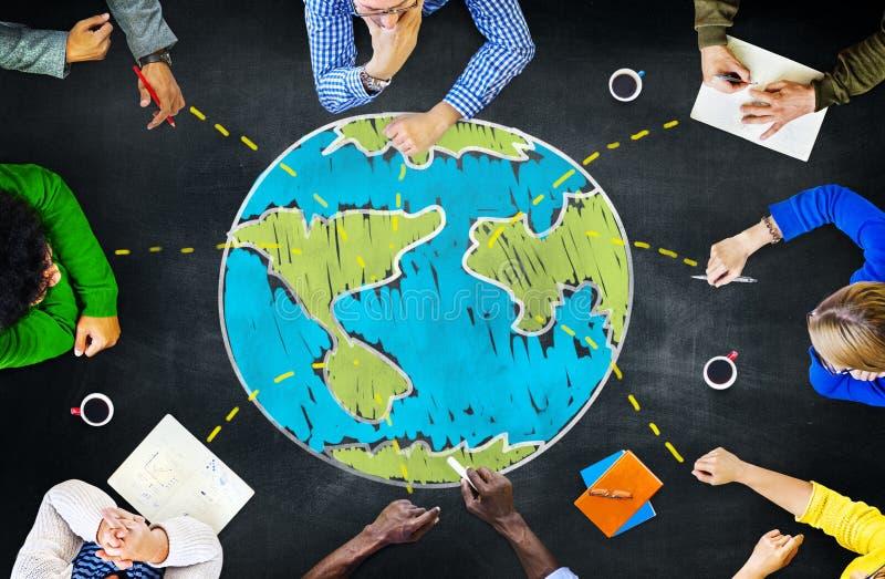 Globalnej ekologii Międzynarodowa Spotyka jedność Uczy się Concep obraz royalty free