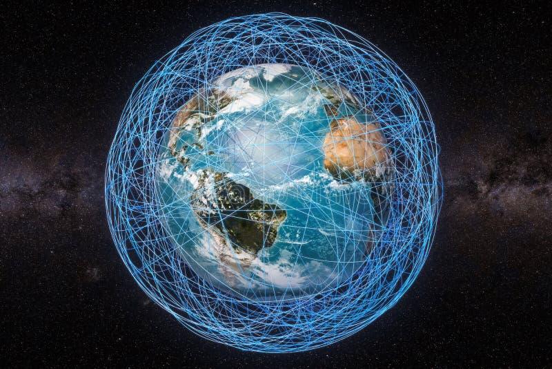 Globalnej komunikaci pojęcie, Ziemska kula ziemska i jarzyć się linii arou, royalty ilustracja