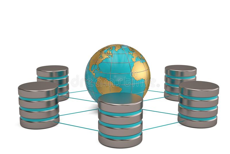 Globalnej komunikaci sieci komputerowy networking i telecommunicati royalty ilustracja