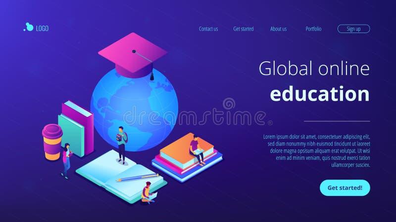 Globalnej online edukacji 3D lądowania isometric strona royalty ilustracja