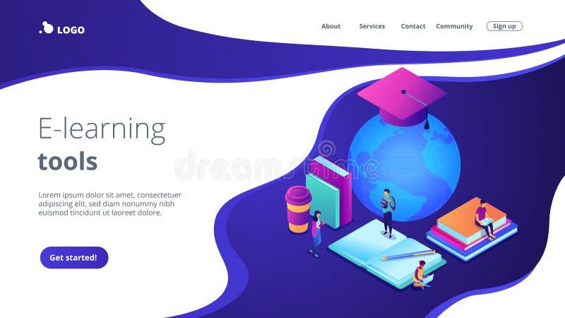 Globalnej online edukacji 3D l?dowania isometric strona ilustracji