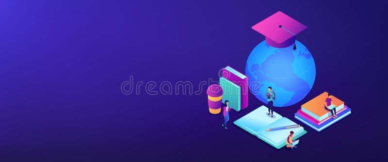 Globalnej online edukacji 3D sztandaru isometric chodnikowiec ilustracja wektor