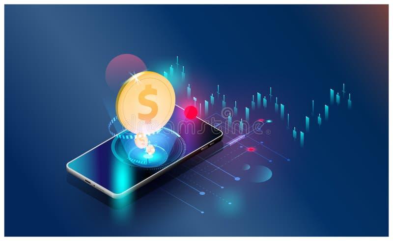 Globalnej sieci pieniężnej inwestycji ekonomicznych trendów tła Wektorowy futurystyczny, smartphones kontroluje rynek papierów wa ilustracji