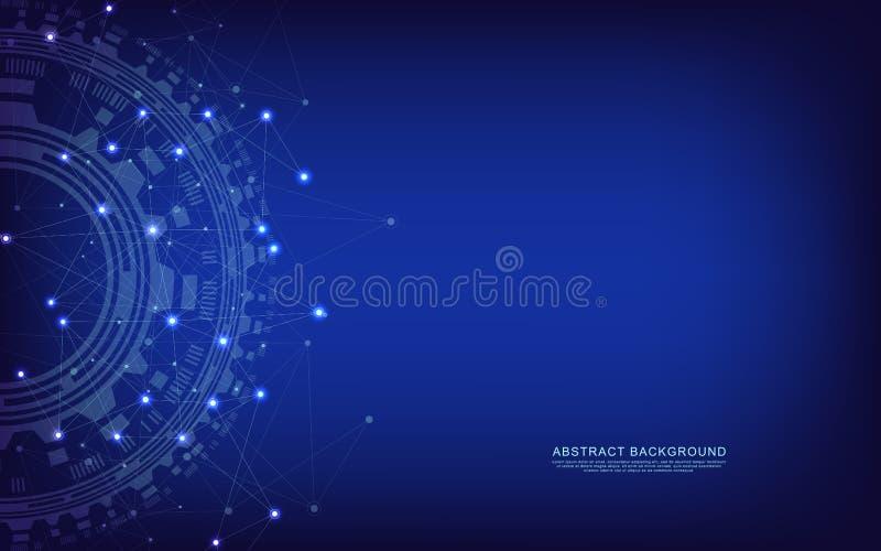 Globalnej sieci związek Abstrakcjonistyczny geometryczny tło z łączyć kropkuje i wykłada Technologia cyfrowa i ilustracja wektor
