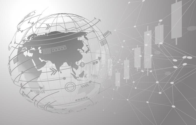 Globalnej sieci związek Światowej mapy punkt i linia skład ilustracji