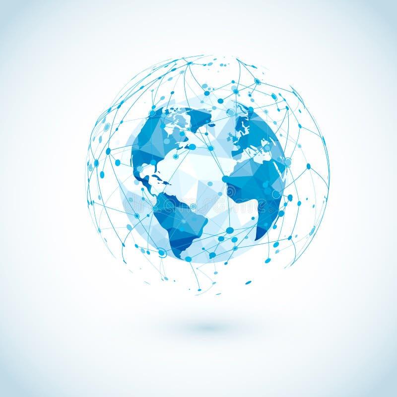 Globalnej sieci związek Niska Poligonalna Światowa mapa z abstrakcjonistycznymi cyfrowymi komunikacjami Kropki i linia interneta  royalty ilustracja