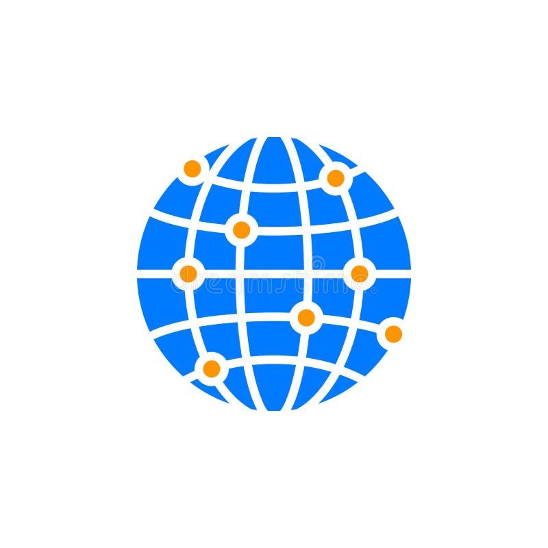 Globalnej sieci związków ikony wektor, wypełniający mieszkanie znak, bryła royalty ilustracja
