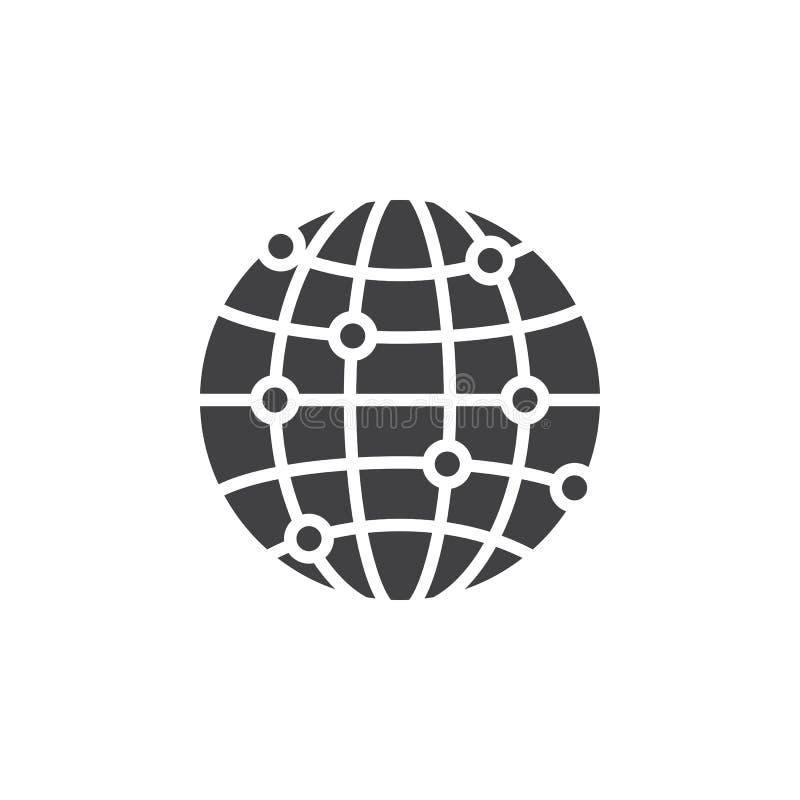 Globalnej sieci związków ikony wektor, wypełniający mieszkanie znak, bryła ilustracja wektor