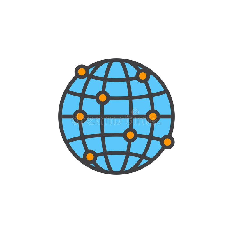 Globalnej sieci związków kreskowa ikona, wypełniający konturu wektoru znak royalty ilustracja