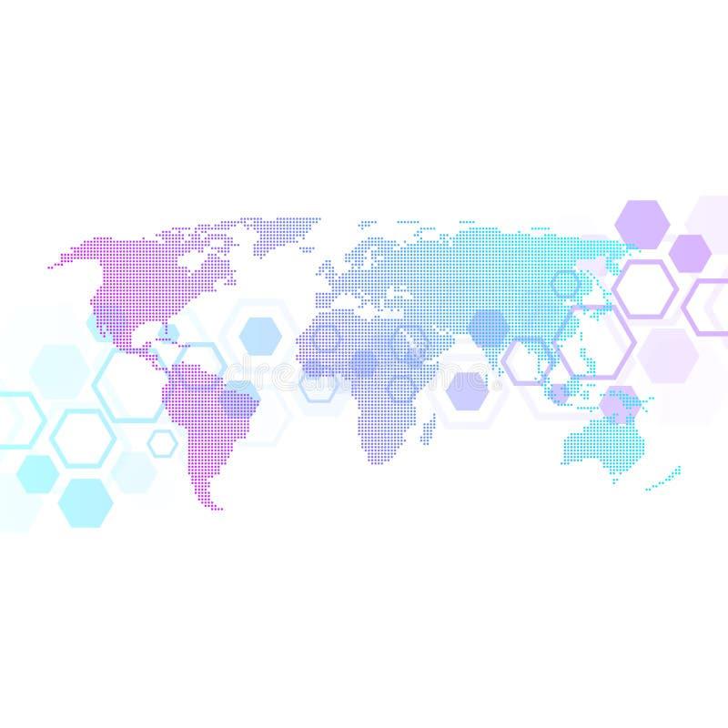 Globalnej sieci związki z kropkowaną światową mapą Połączenie z internetem tło Abstrakcjonistyczna podłączeniowa struktura ilustracji