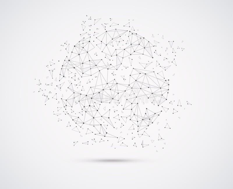 Globalnej sieci związki z punktami i linia geometryczny kształt z bańczastymi trójgraniastymi twarzami royalty ilustracja