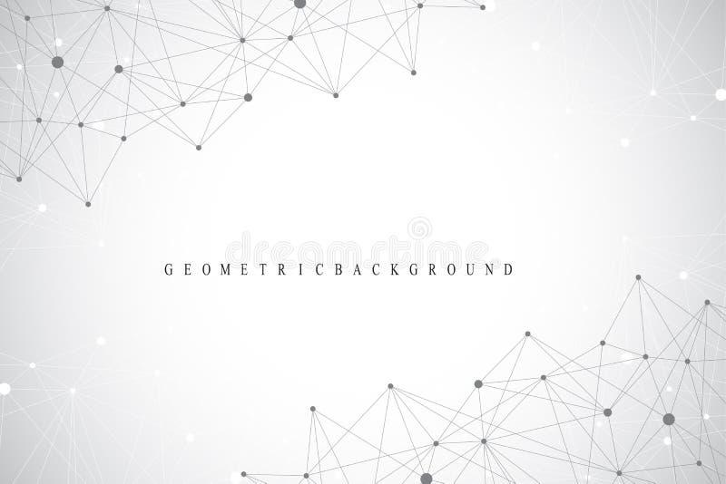 Globalnej sieci związki z punktami i liniami Networking i Big Data unaocznienia tło Futurystyczny globalny royalty ilustracja