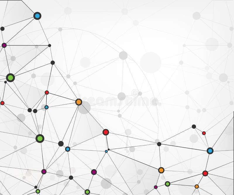Globalnej sieci związki z punktami i liniami tło abstrakcyjna technologii Cząsteczkowa struktura z związanymi punktami Vecto ilustracji