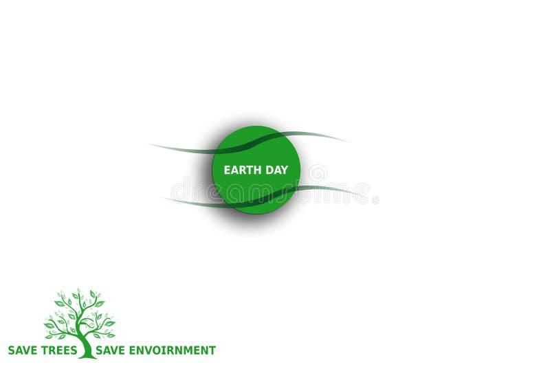 Globalnej Ziemskiego dnia środowiska konserwacji pojęcia Abstrakcjonistyczna zieleń na bielu royalty ilustracja