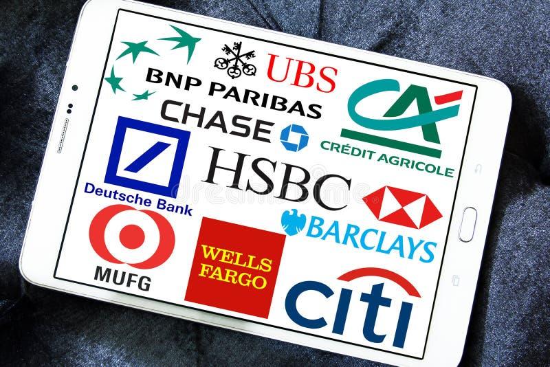 Globalni banków logowie obrazy stock
