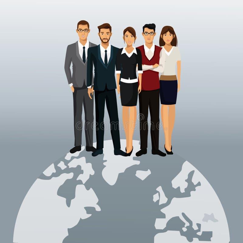 Globalni ludzie biznesu prac zespołowych royalty ilustracja