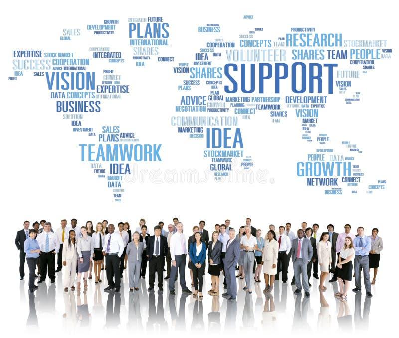 Globalni ludzie biznesu więzi poparcia pracy zespołowej pojęcia royalty ilustracja