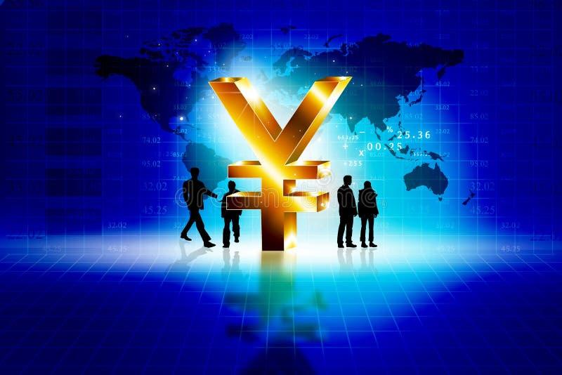 Globalni ludzie biznesu z jenu znakiem ilustracji