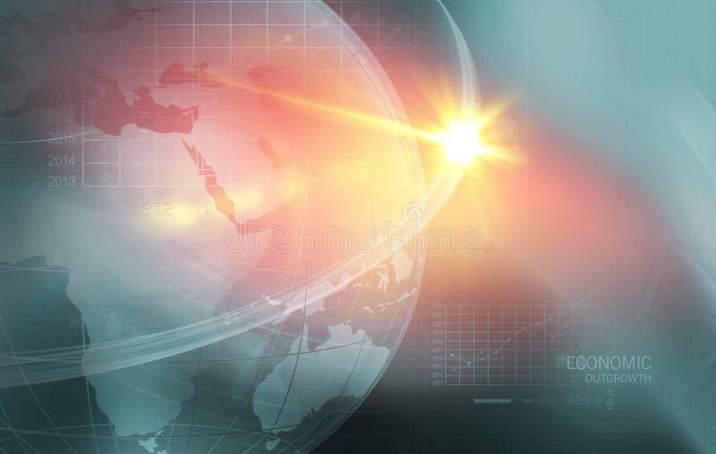 Globalni problemy gospodarki z Analytical wykresem w tło przeciwie royalty ilustracja