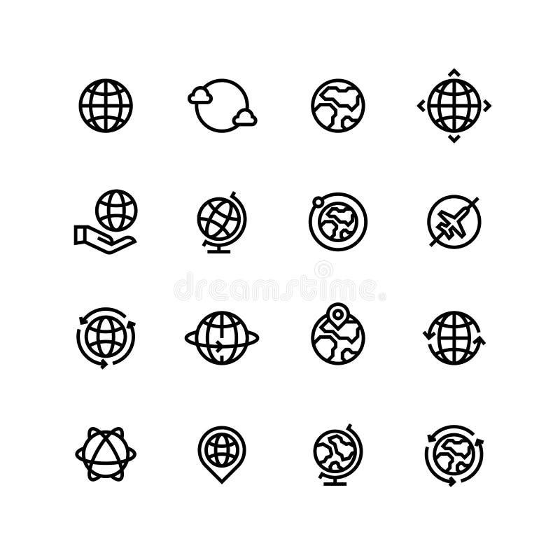 Globalny świat, kula ziemska konturu ikony Ziemia, mapa i podróż prości kreskowi wektorowi symbole, royalty ilustracja