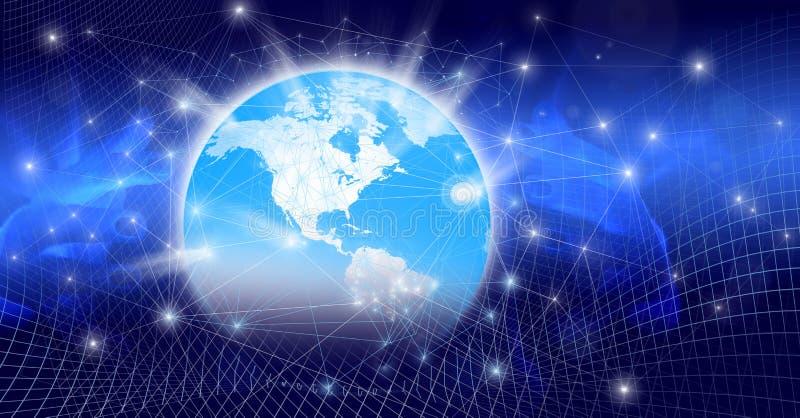 Globalny świat z cyfrowymi połączeniami i rozjarzonymi związkami obrazy stock
