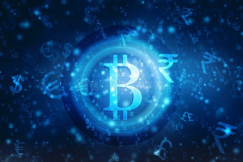 Globalny Abstrakcjonistyczny Bitcoin waluty Blockchain technologii Crypto tło royalty ilustracja