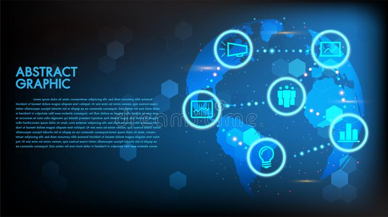 Globalny Abstrakcjonistyczny cyfrowy biznesu i technologii techniki pojęcia światowej mapy tło Wektorowa ilustracyjna innowacja,  ilustracji