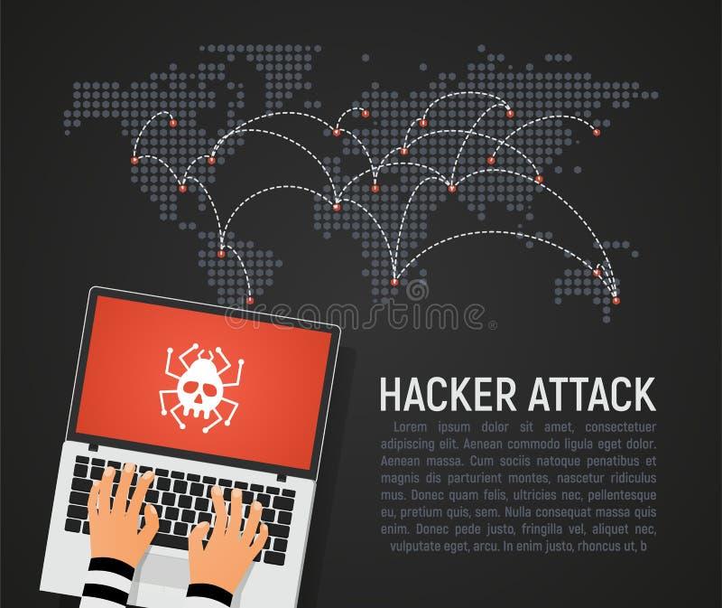 Globalny atak hakerów na świecie mapa wektorowa ilustracja Światowe bezpieczeństwo Internetu w niebezpieczeństwie ciemne tło w pł royalty ilustracja