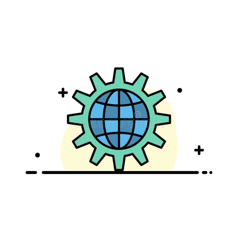 Globalny, Biznesowy, Rozwija, rozwój, przekładnia, praca, Światowego biznesu mieszkania ikony sztandaru linia Wypełniający Wektor ilustracji