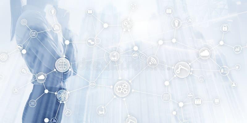 globalny biznesowy zwi?zek Innowacji pojęcie na wirtualnym ekranie Internet rzeczy Mądrze przemysłu pojęcia mieszany medialny dia ilustracja wektor