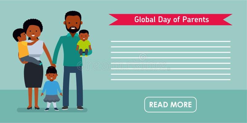 Globalny dzień rodzica sztandar Z dziećmi szczęśliwi rodzice Amerykan Afrykańskiego Pochodzenia ludzie ilustracji
