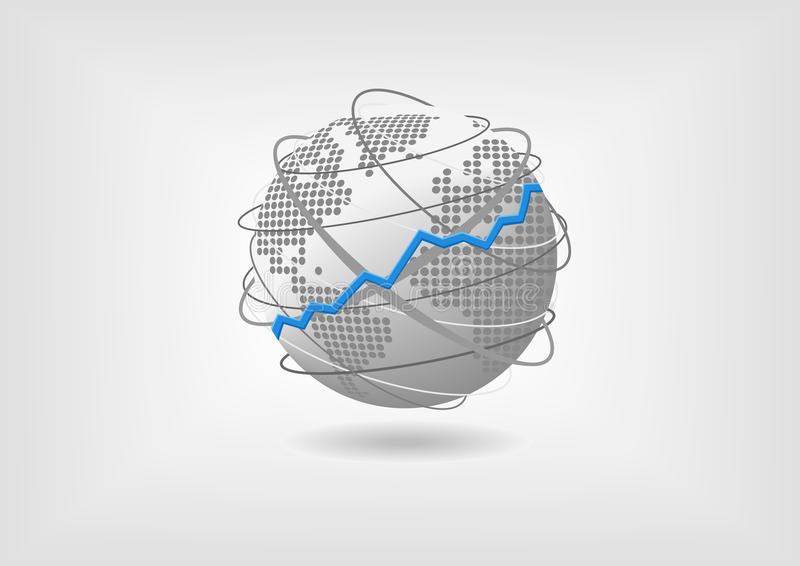 Globalny ekonomicznego przyrosta pojęcie jako ilustracja Zwyżkowa prosperuje gospodarka światowa reprezentująca kulą ziemską ilustracji