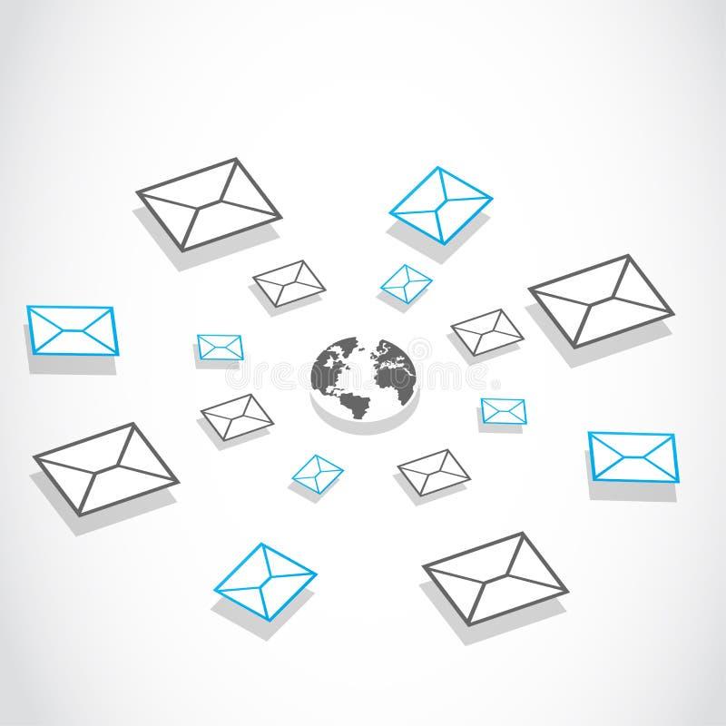 Globalny email przesyłanie wiadomości system royalty ilustracja