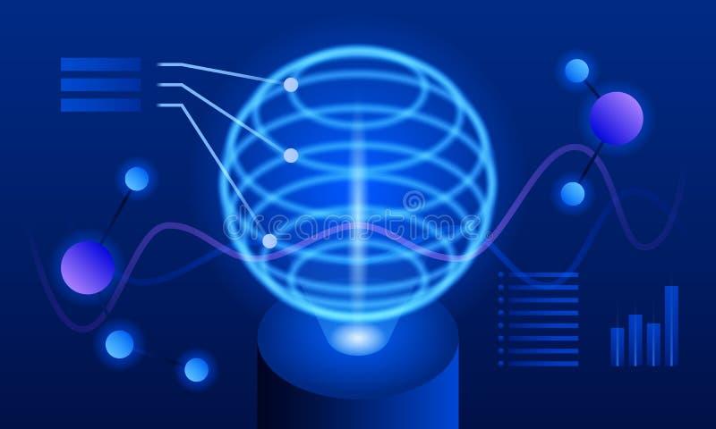 Globalny futurystyczny visualisation sztandar, isometric styl ilustracja wektor