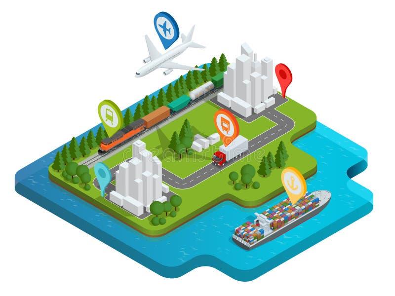Globalny logistyki sieci mieszkania 3d isometric wektorowy ilustracyjny Lotniczy ładunek przewozi samochodem sztachetowego transp royalty ilustracja