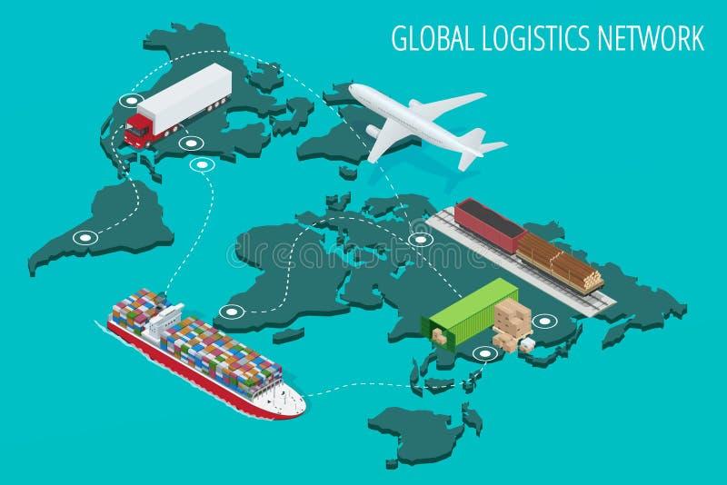 Globalny logistyki sieci mieszkania 3d isometric wektorowy ilustracyjny Ustawiający lotniczy ładunek przewozi samochodem sztachet ilustracja wektor