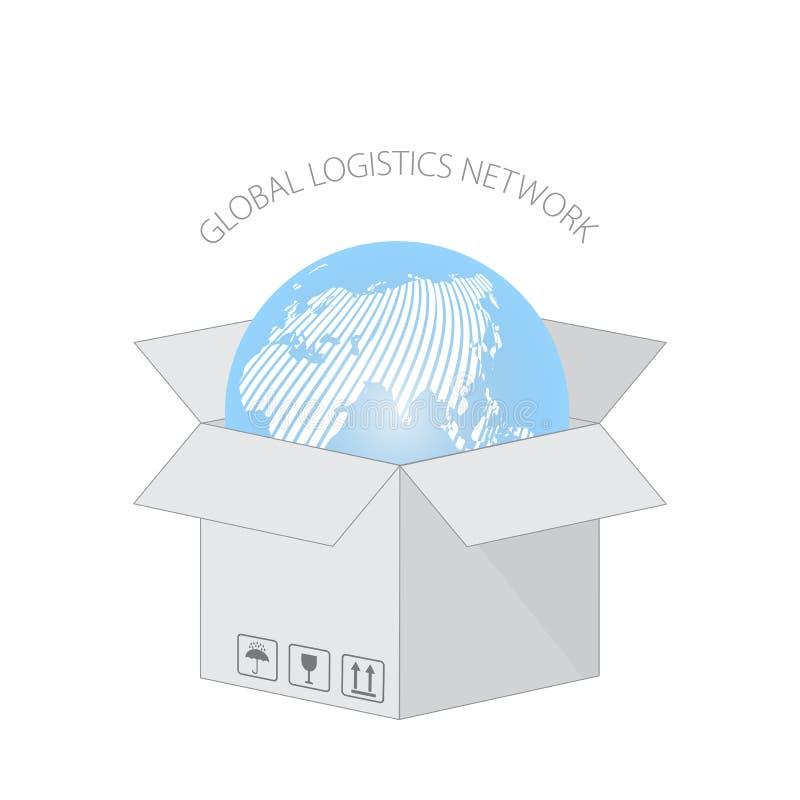 Globalny logistyki sieci pojęcie Kula ziemska jest w cartboard pudełku dla dostawy Otwiera karton z pakować symbole ilustracja wektor