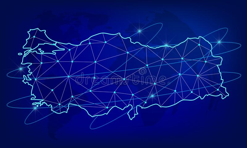 Globalny logistyki sieci pojęcie Teletechnicznej sieci mapa Turcja na światowym tle Mapa Turcja z guzkami w poli- ilustracja wektor