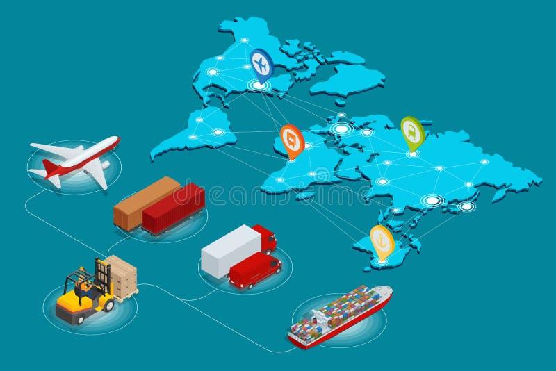 Globalny logistyki sieci strony internetowej pojęcia mieszkania 3d isometric wektorowy ilustracyjny Lotniczy ładunek przewozi sam royalty ilustracja