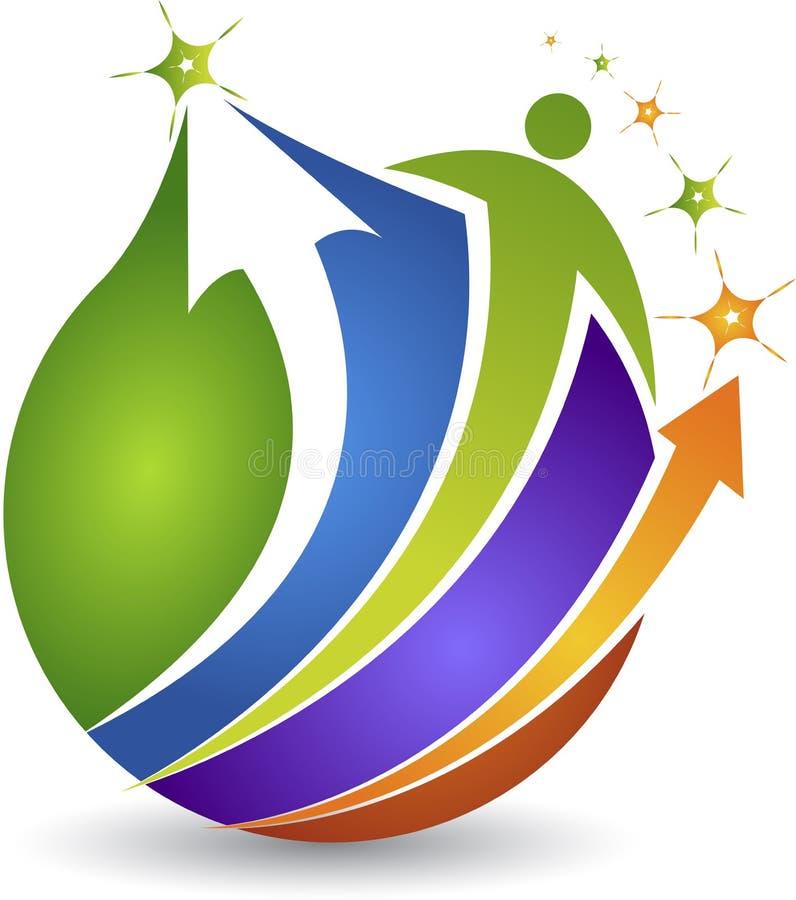 Globalny ludzki aktywny logo ilustracja wektor
