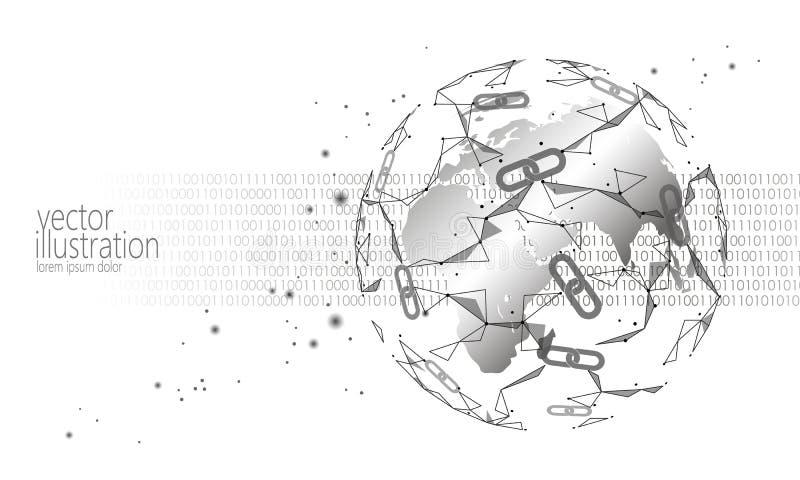 Globalny międzynarodowy blockchain cryptocurrency Planety technologii finanse bankowości astronautyczny niski poli- nowożytny prz ilustracja wektor
