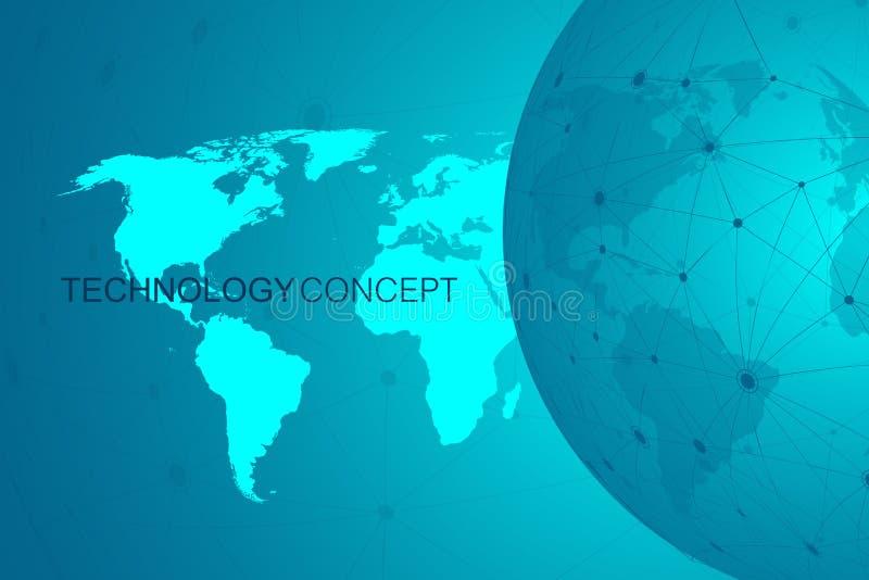 Globalny międzynarodowy blockchain z Światową mapą Nowożytnej przyszłościowej planety przestrzeni technologii niski poli- nowożyt royalty ilustracja