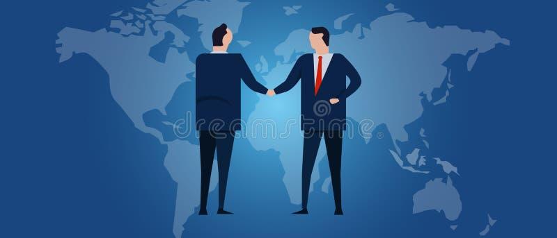Globalny międzynarodowy partnerstwo Dyplomaci negocjacja Biznesowego związku zgody uścisk dłoni Kraj mapa i flaga ilustracji