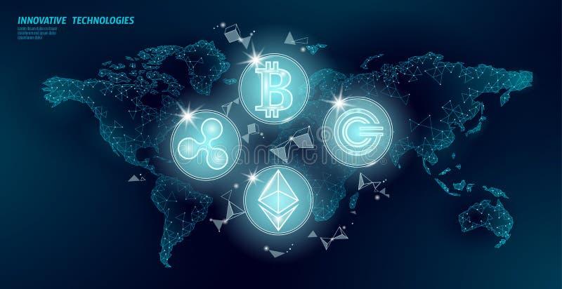 Globalny mi?dzynarodowy blockchain cryptocurrency ?wiatowej mapy przysz?o?ci finanse bankowo?? niski poli- nowo?ytny projekt poli ilustracja wektor